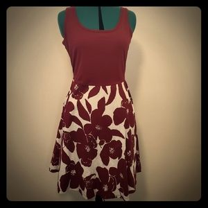 Sleeveless A-line tank dress - wine flower